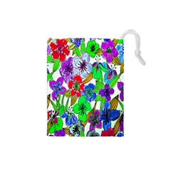 Background Of Hand Drawn Flowers With Green Hues Drawstring Pouches (small)  by Nexatart