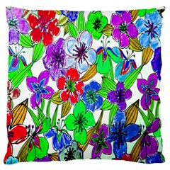 Background Of Hand Drawn Flowers With Green Hues Large Flano Cushion Case (two Sides) by Nexatart