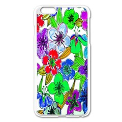 Background Of Hand Drawn Flowers With Green Hues Apple Iphone 6 Plus/6s Plus Enamel White Case by Nexatart