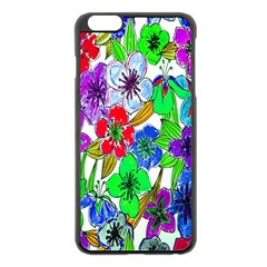 Background Of Hand Drawn Flowers With Green Hues Apple Iphone 6 Plus/6s Plus Black Enamel Case by Nexatart