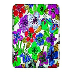Background Of Hand Drawn Flowers With Green Hues Samsung Galaxy Tab 4 (10 1 ) Hardshell Case  by Nexatart