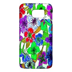 Background Of Hand Drawn Flowers With Green Hues Galaxy S6