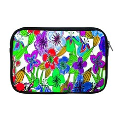 Background Of Hand Drawn Flowers With Green Hues Apple Macbook Pro 17  Zipper Case by Nexatart