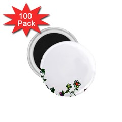 Floral Border Cartoon Flower Doodle 1 75  Magnets (100 Pack)  by Nexatart