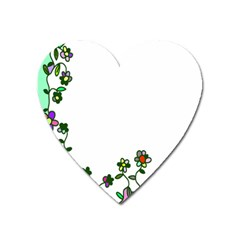 Floral Border Cartoon Flower Doodle Heart Magnet by Nexatart