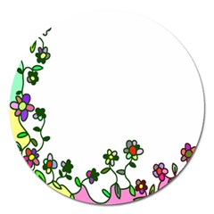Floral Border Cartoon Flower Doodle Magnet 5  (round)