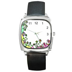 Floral Border Cartoon Flower Doodle Square Metal Watch by Nexatart