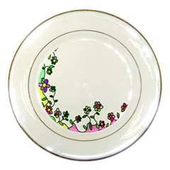 Floral Border Cartoon Flower Doodle Porcelain Plates by Nexatart