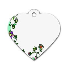 Floral Border Cartoon Flower Doodle Dog Tag Heart (two Sides)