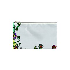 Floral Border Cartoon Flower Doodle Cosmetic Bag (small)  by Nexatart