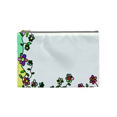 Floral Border Cartoon Flower Doodle Cosmetic Bag (medium)  by Nexatart