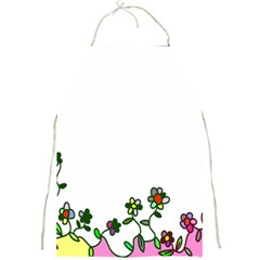 Floral Border Cartoon Flower Doodle Full Print Aprons by Nexatart