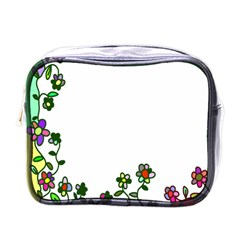Floral Border Cartoon Flower Doodle Mini Toiletries Bags by Nexatart