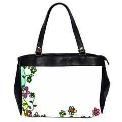 Floral Border Cartoon Flower Doodle Office Handbags (2 Sides)