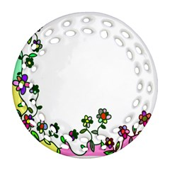 Floral Border Cartoon Flower Doodle Round Filigree Ornament (two Sides) by Nexatart
