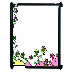 Floral Border Cartoon Flower Doodle Apple Ipad 2 Case (black) by Nexatart
