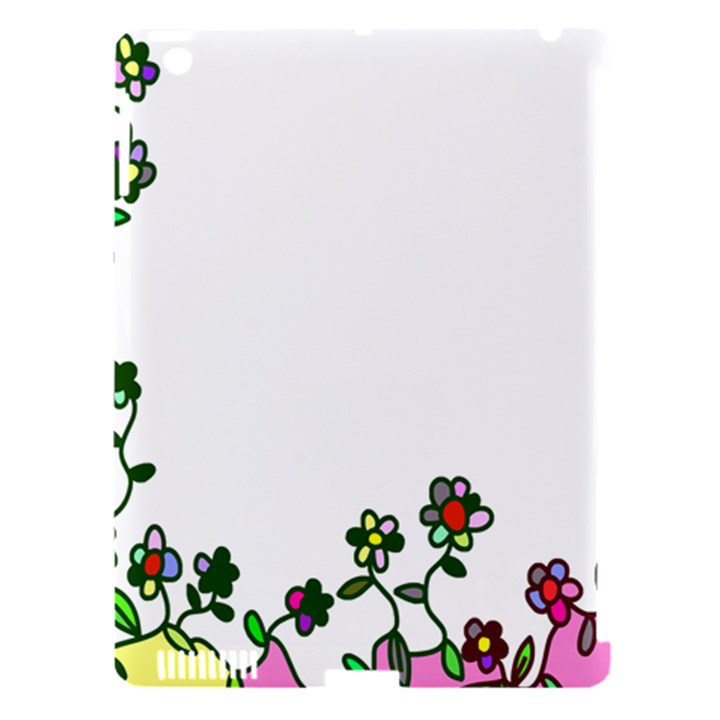Floral Border Cartoon Flower Doodle Apple iPad 3/4 Hardshell Case (Compatible with Smart Cover)