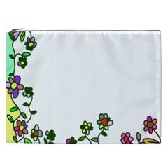 Floral Border Cartoon Flower Doodle Cosmetic Bag (xxl)