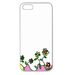 Floral Border Cartoon Flower Doodle Apple Seamless Iphone 5 Case (clear)