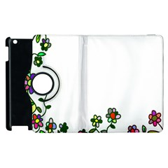Floral Border Cartoon Flower Doodle Apple Ipad 2 Flip 360 Case by Nexatart