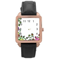 Floral Border Cartoon Flower Doodle Rose Gold Leather Watch