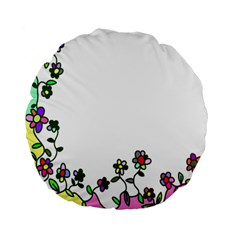 Floral Border Cartoon Flower Doodle Standard 15  Premium Flano Round Cushions