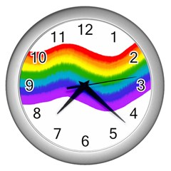 Watercolour Rainbow Colours Wall Clocks (silver)
