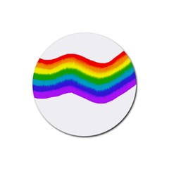 Watercolour Rainbow Colours Rubber Coaster (round)