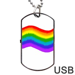 Watercolour Rainbow Colours Dog Tag Usb Flash (one Side) by Nexatart