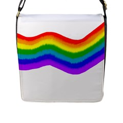 Watercolour Rainbow Colours Flap Messenger Bag (l)  by Nexatart