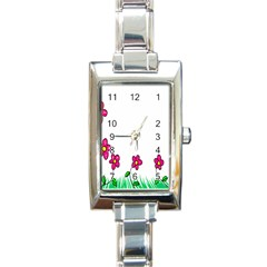 Floral Doodle Flower Border Cartoon Rectangle Italian Charm Watch