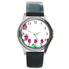 Floral Doodle Flower Border Cartoon Round Metal Watch