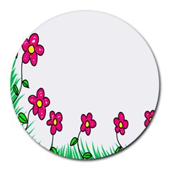 Floral Doodle Flower Border Cartoon Round Mousepads