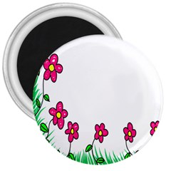 Floral Doodle Flower Border Cartoon 3  Magnets by Nexatart