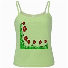 Floral Doodle Flower Border Cartoon Green Spaghetti Tank by Nexatart