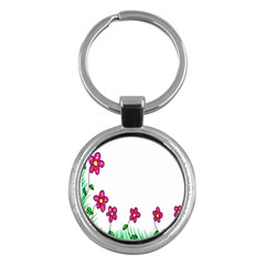 Floral Doodle Flower Border Cartoon Key Chains (round)