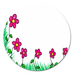 Floral Doodle Flower Border Cartoon Magnet 5  (round)