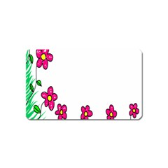 Floral Doodle Flower Border Cartoon Magnet (name Card)