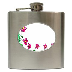 Floral Doodle Flower Border Cartoon Hip Flask (6 Oz)