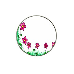 Floral Doodle Flower Border Cartoon Hat Clip Ball Marker (10 Pack) by Nexatart