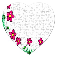 Floral Doodle Flower Border Cartoon Jigsaw Puzzle (heart) by Nexatart