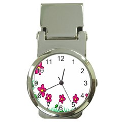 Floral Doodle Flower Border Cartoon Money Clip Watches by Nexatart