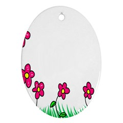Floral Doodle Flower Border Cartoon Oval Ornament (two Sides) by Nexatart