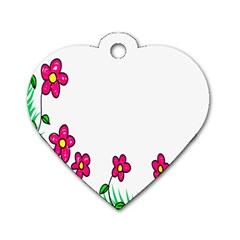Floral Doodle Flower Border Cartoon Dog Tag Heart (one Side) by Nexatart