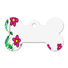Floral Doodle Flower Border Cartoon Dog Tag Bone (two Sides)