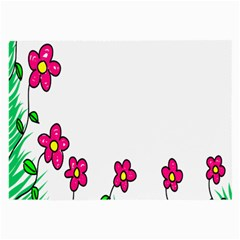 Floral Doodle Flower Border Cartoon Large Glasses Cloth (2 Side) by Nexatart