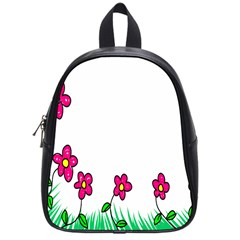 Floral Doodle Flower Border Cartoon School Bags (small)  by Nexatart