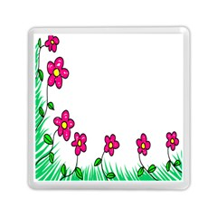 Floral Doodle Flower Border Cartoon Memory Card Reader (square)