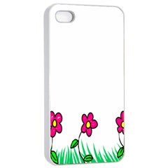 Floral Doodle Flower Border Cartoon Apple Iphone 4/4s Seamless Case (white)