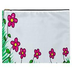 Floral Doodle Flower Border Cartoon Cosmetic Bag (xxxl)